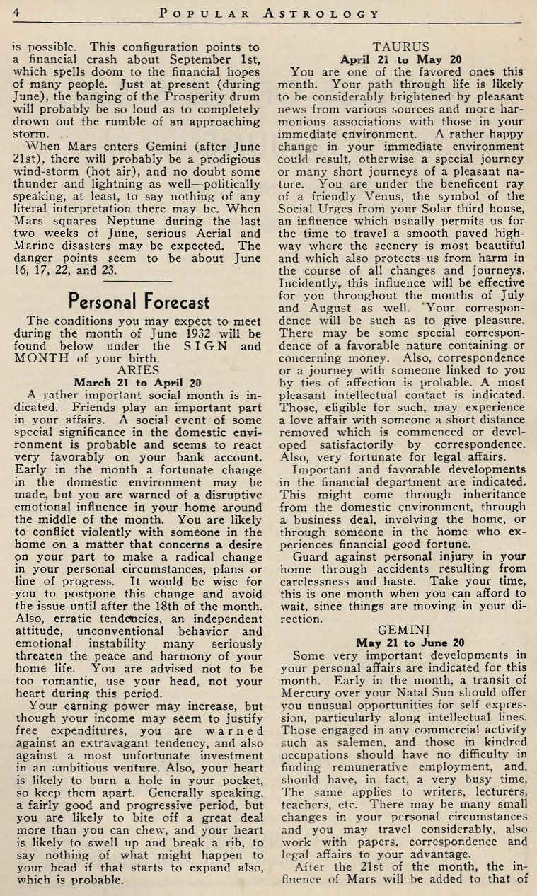 Popular Astrology June 1932 Paul Clancy Sun sign forecasts first page