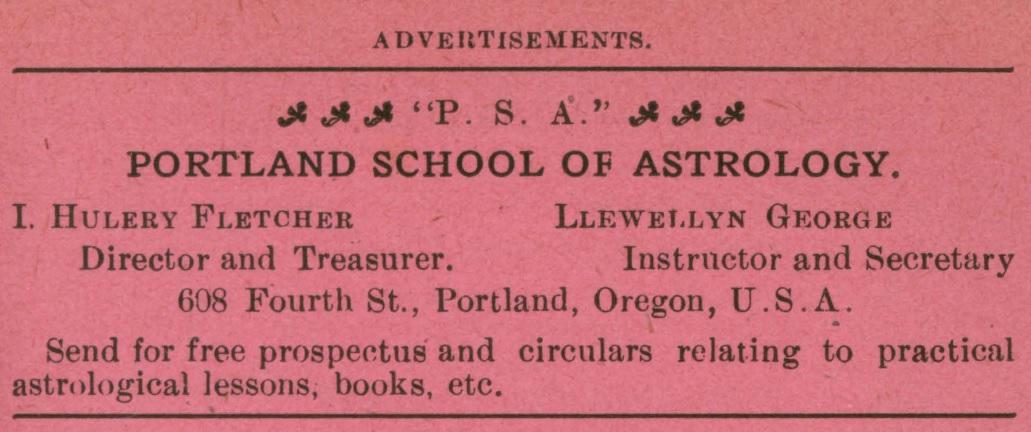 Portland School of Astrology, advertisement in The Astrolite No. 3, March 1908