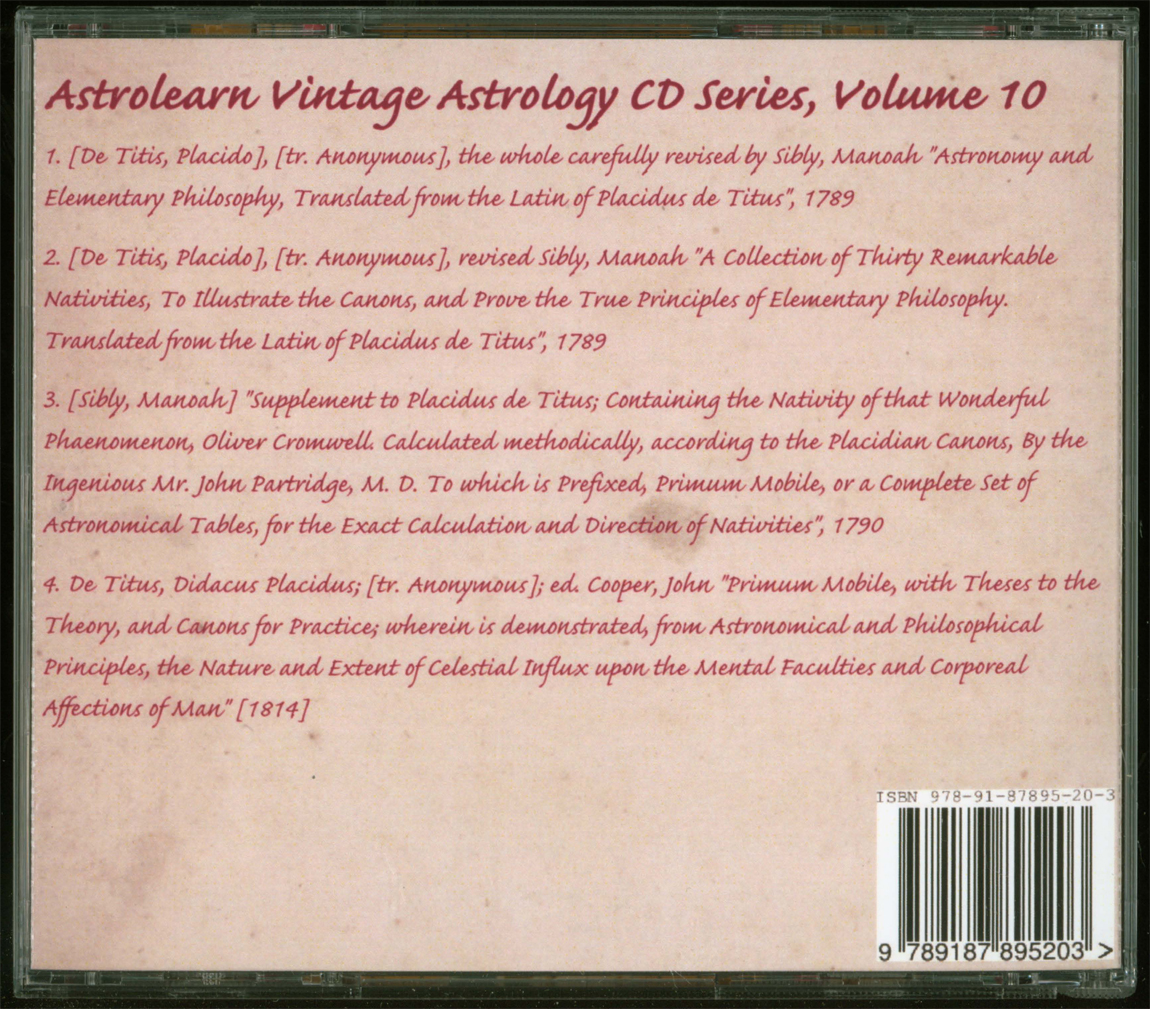 Astrolearn Vintage Astrology CD 10 rear cover