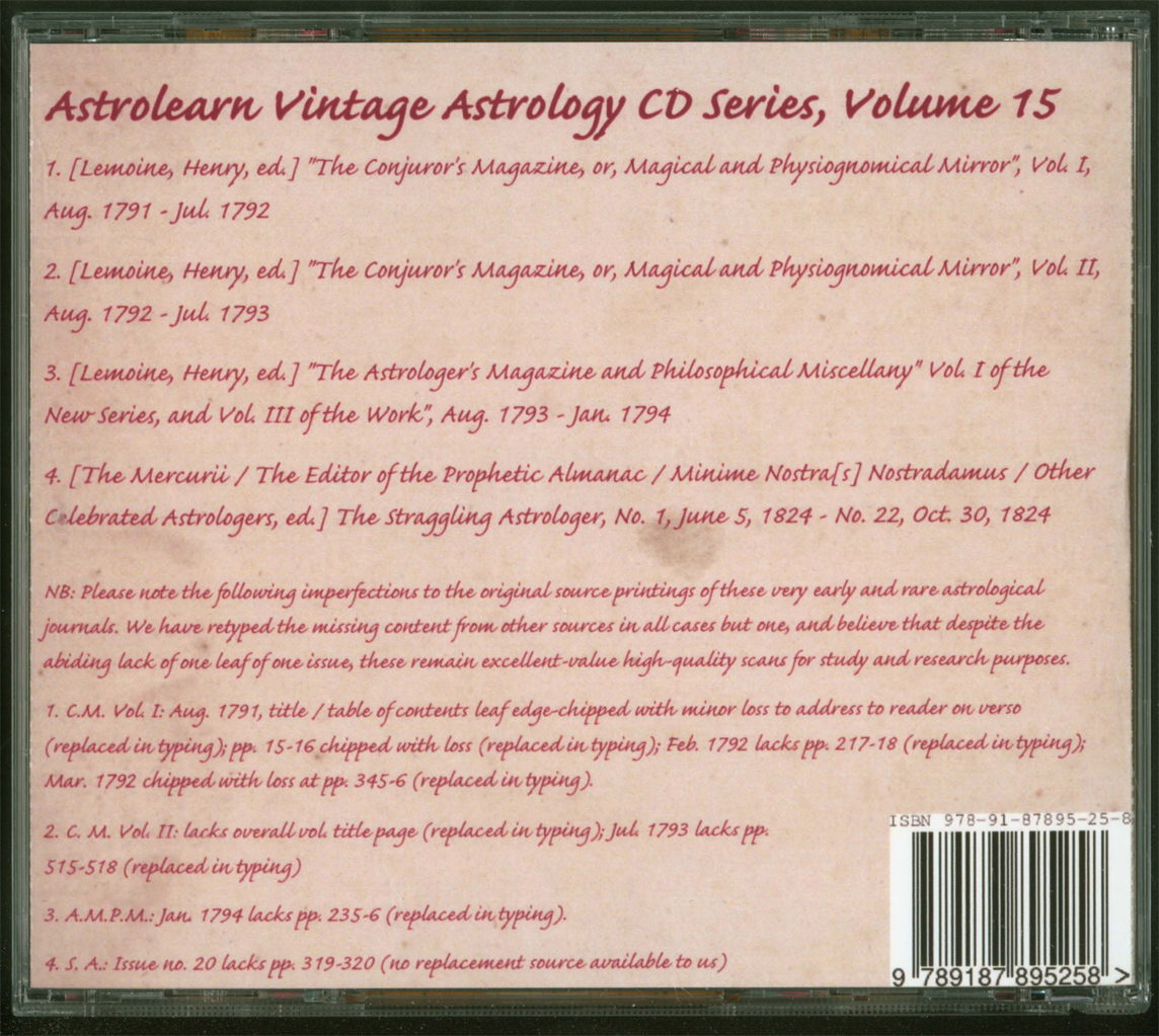 Astrolearn Vintage Astrology CD 15, Rear cover