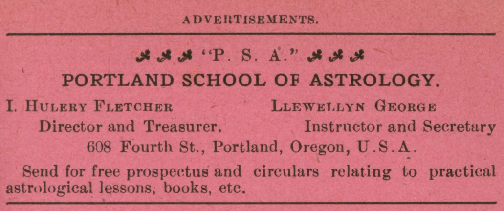 Portland School of Astrology, advertisement in The Astrolite No. 3, March 1908