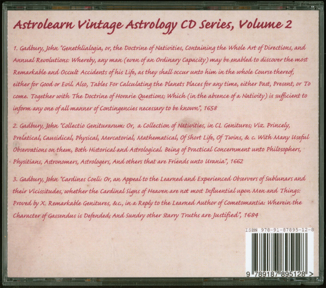 Astrolearn Vintage Astrology CD2: Rear cover