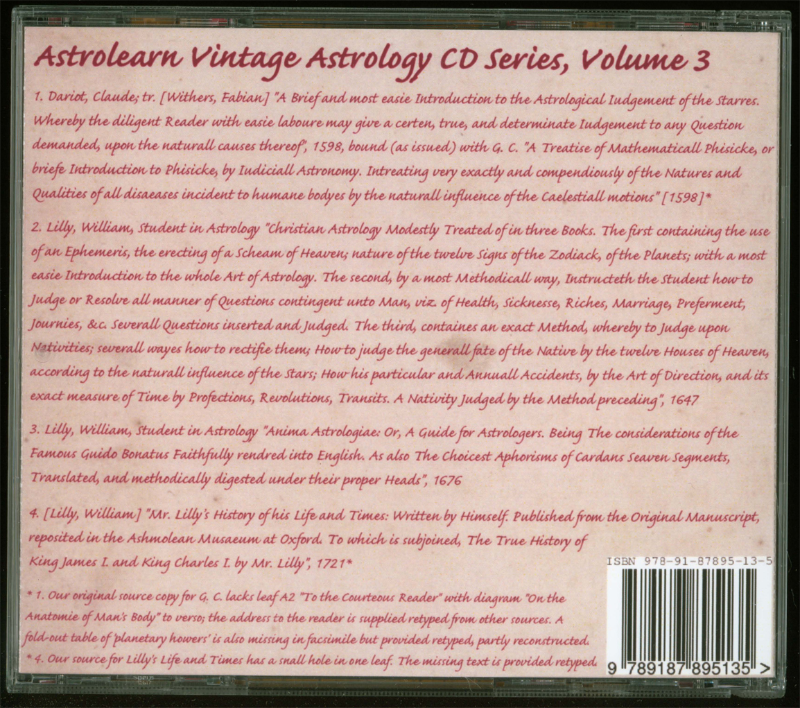 Astrolearn Vintage Astrology CD 3 Rear Cover