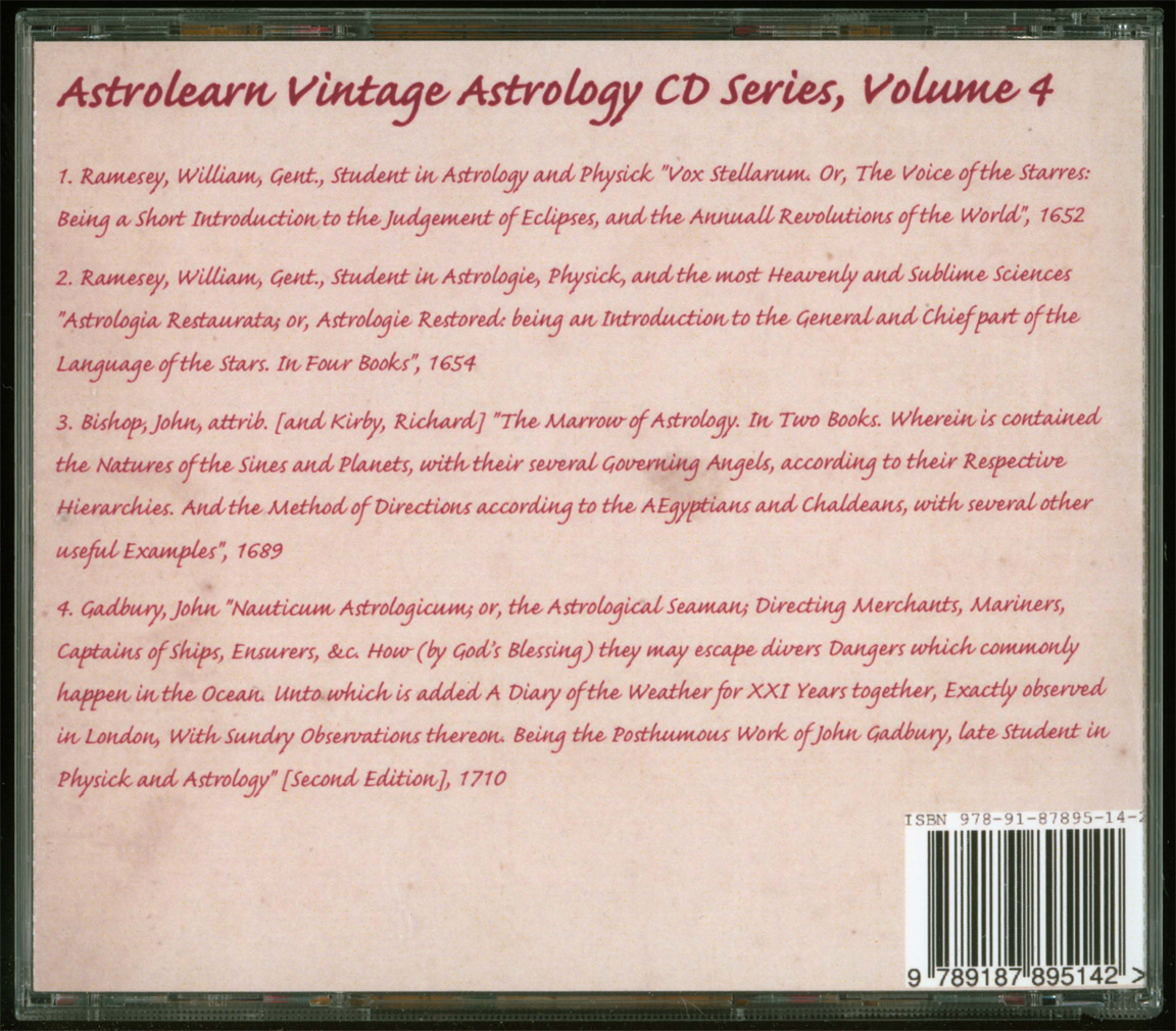 Astrolearn Vintage Astrology CD 4 Rear Cover