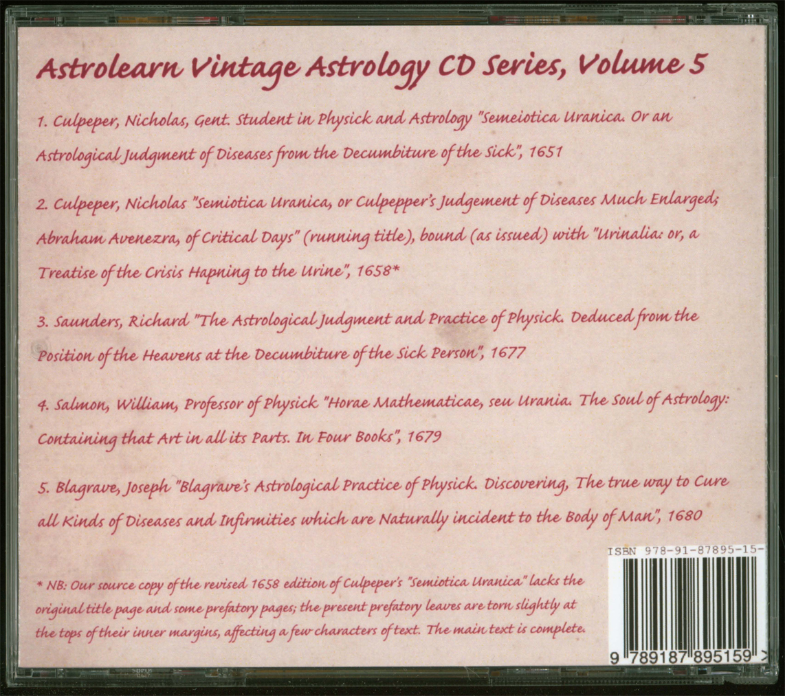 Astrolearn Vintage Astrology CD5, Rear Cover