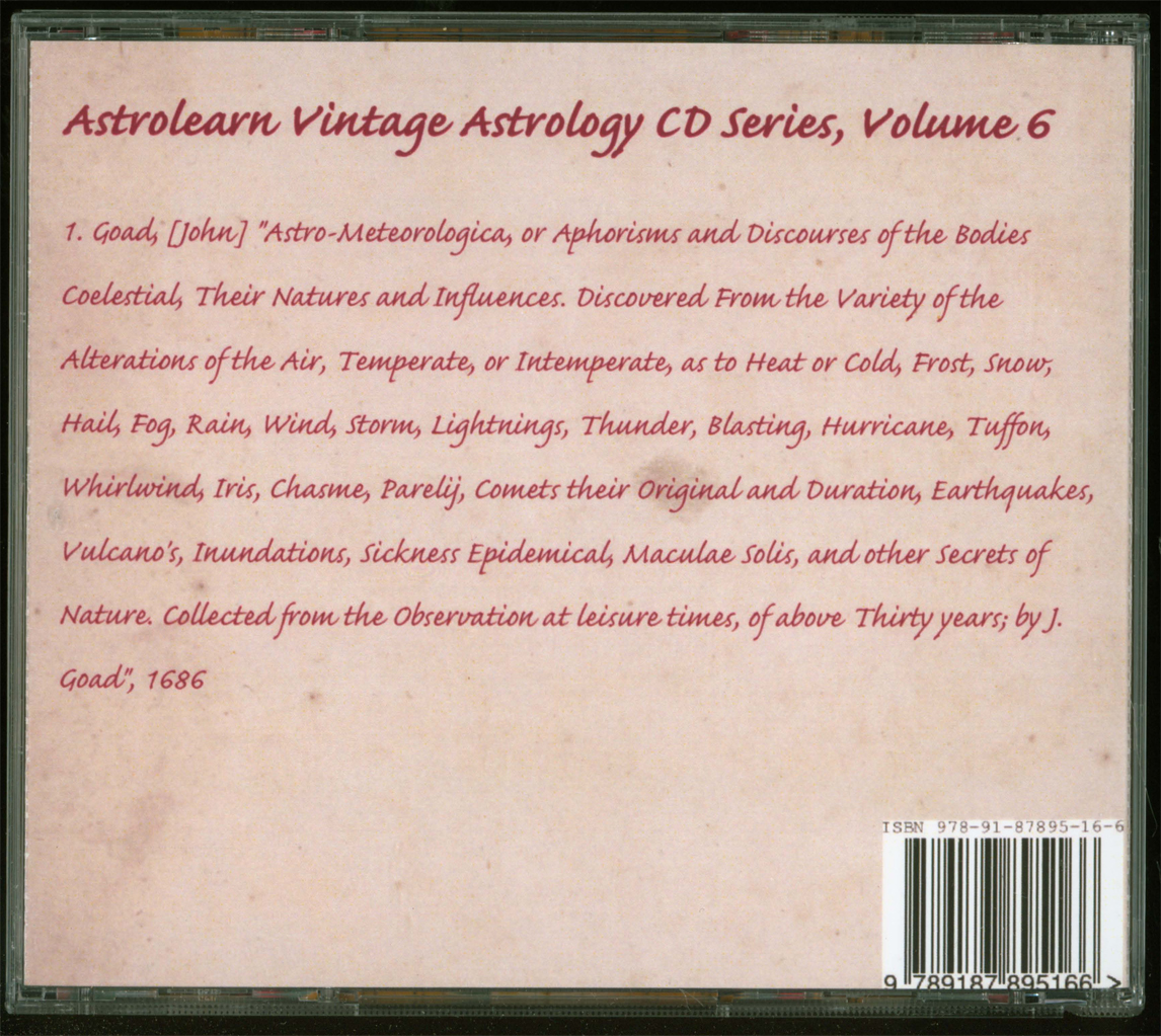 Astrolearn Vintage Astrology CD 6, rear cover