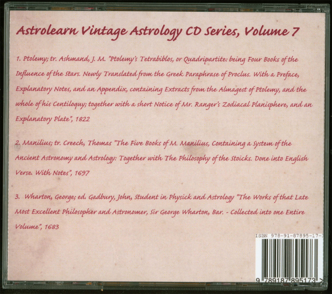 Astrolearn Vintage Astrology CD 7 Rear Cover