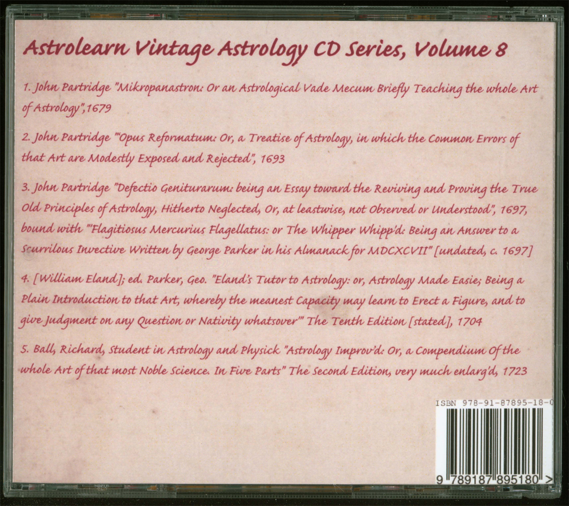 Astrolearn Vintage Astrology CD 8, rear cover