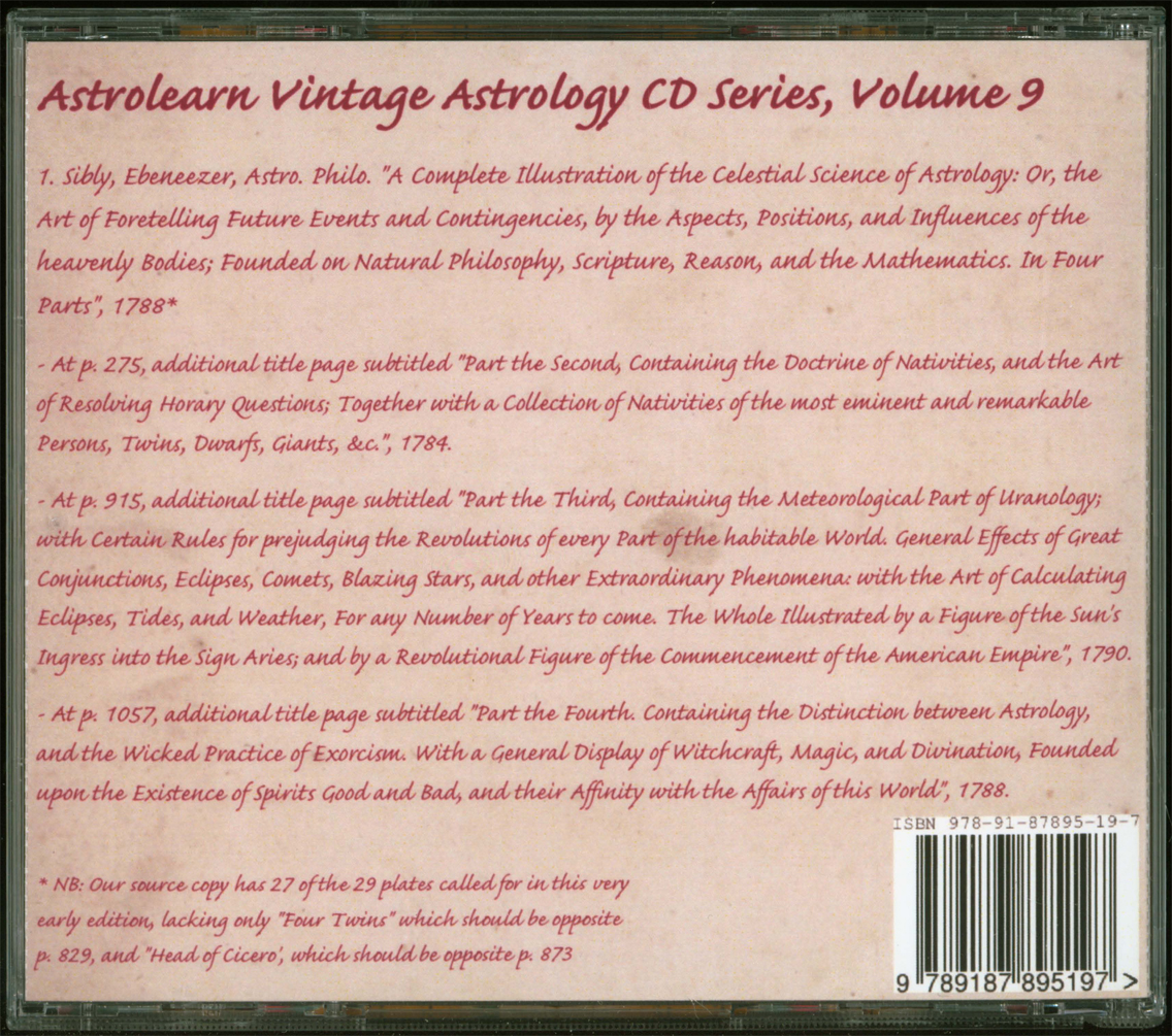 Astrolearn Vintage Astrology CD 9 rear cover