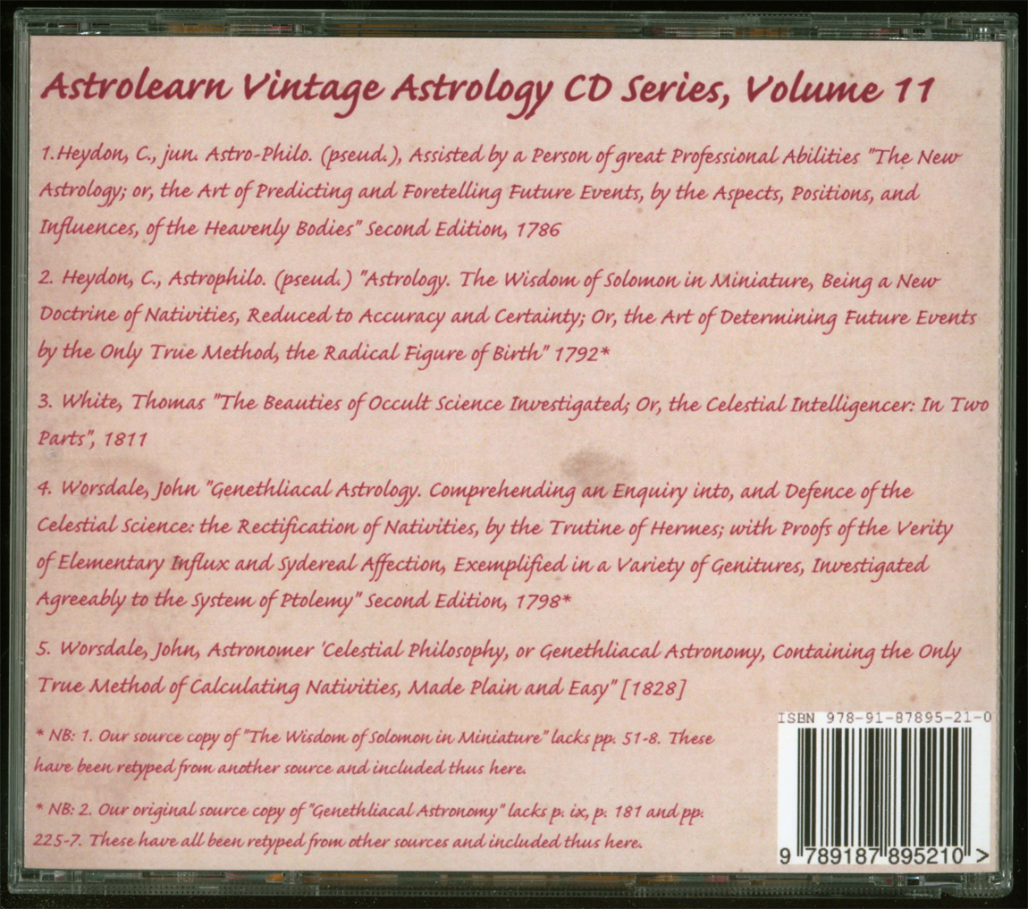 Astrolearn Vintage Astrology CD 11 rear cover