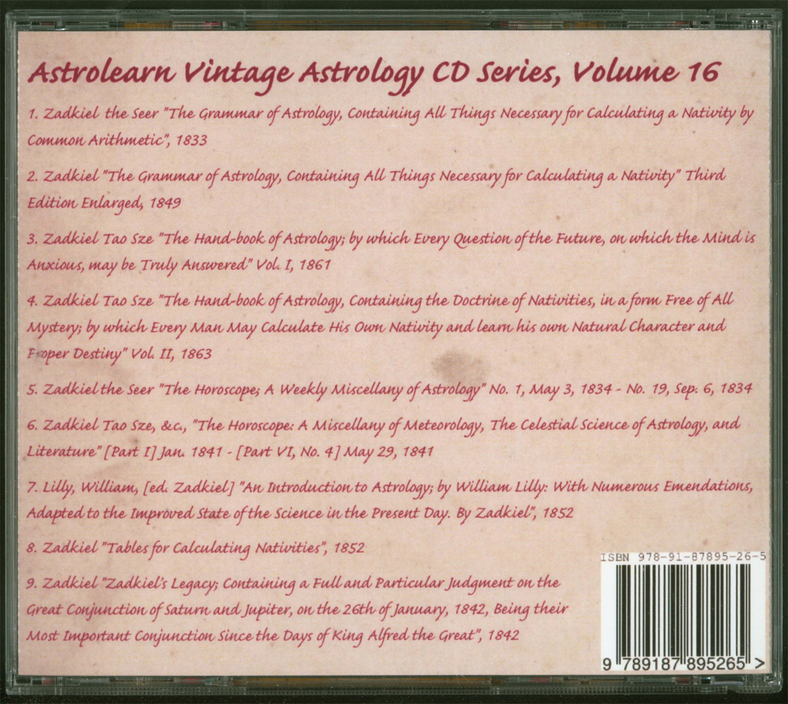Astrolearn Vintage Astrology CD 16 Rear cover