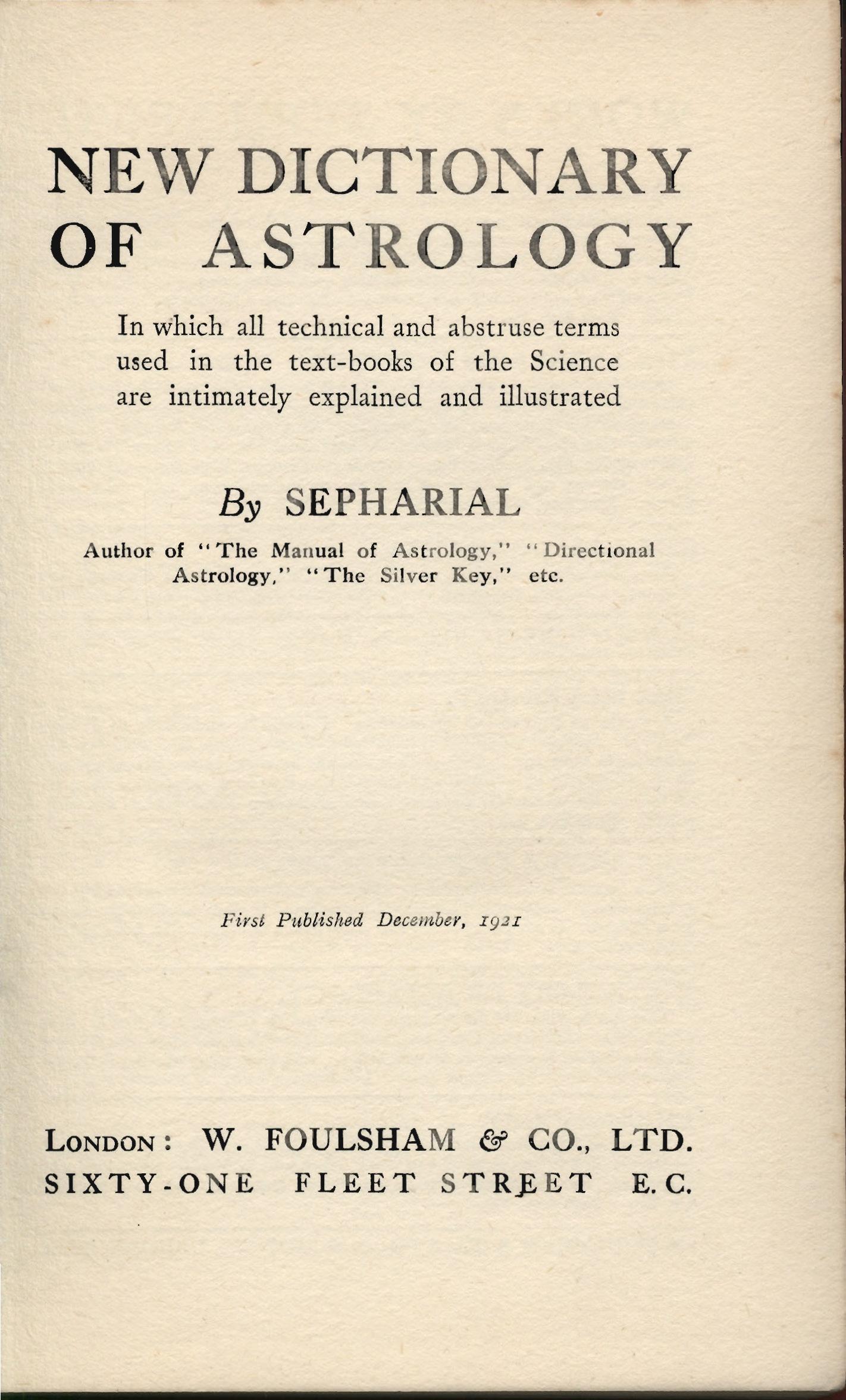 sepharial astrology explained