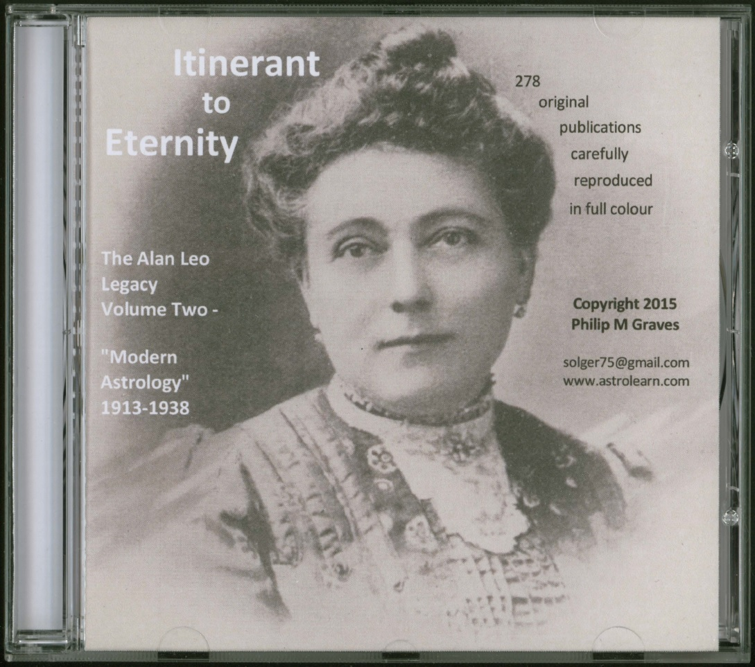 "Itinerant to Eternity: the Alan Leo Legacy Volume Two - ""Modern Astrology"", 1913-1938, DVD, Front Cover"